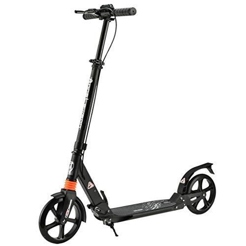JSZHBC Vespa for niños y Adultos de cercanías de Altura Ajustable de la Rueda Grande de ciclomotores for niños y Adultos Principiantes Smooth no eléctricos Scooter clásico (Color : Black)