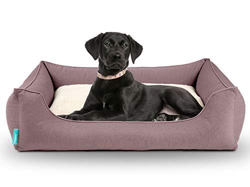 Dreamer Perfect Hundebett | Wendekissen orthopädisch | Bezug abnehmbar und waschbar | Boden wasserabweisend | Made in EU | in S, M, L, XL | petrolgrün, dunkelgrau, und altrosa (L 100 x 70cm, Altrosa)