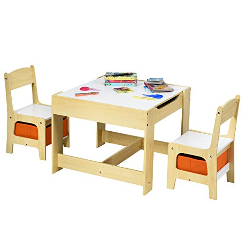 COSTWAY Kids Table and Chair Set, Double Side Tabletop Table + 2PCS Chairs with Storage Box, Wooden Children Activity Desk Nursery Furniture (Natural+White)