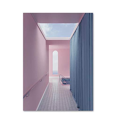 chthsx Tür Schlafsofa Wüste Zelt Pink Gebäude Wandkunst Leinwand Malerei Nordic Poster und Drucke Wandbilder für Wohnzimmer Home Decoration -50x75cm Kein Rahmen
