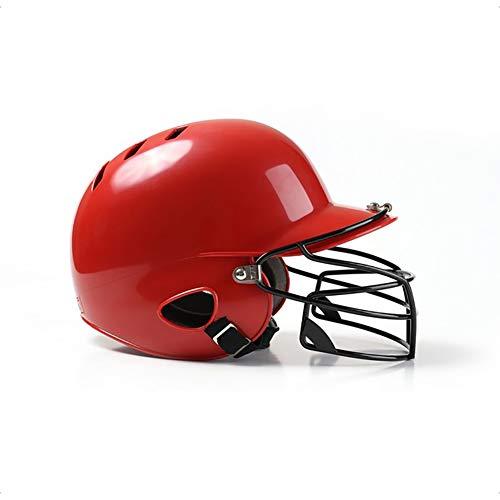 OOFAYWFD Baseball-Helm, Jugend und Kinder Erwachsene Baseball und Softball Helm Multicolor Gürtel Maske Outdoor-Sport ABS-Material,Red