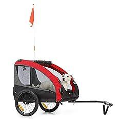 Klarfit Husky Race Cykel Hund Hänge,ca. 282 liter volym,Material: 600D Oxford Canvas med vattentät PVC beläggning,SmartSpace Concept: vikbar, färg: röd / grå