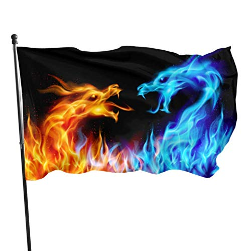 YRTGF Abstrakte blau rote feurige Drachen Illustration Gartenflaggen dekorative Wanddekor Flagge 3x5 Fuß lebendige Farben Qualität Polyester und Messing Ösen