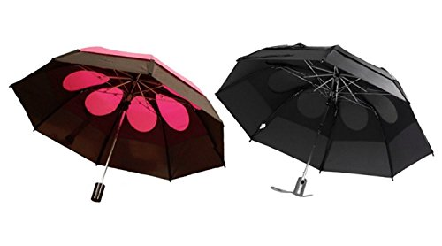 Gustbuster Metro Wind Resistant Umbrellas 2 Pack Bundle, Black and Red