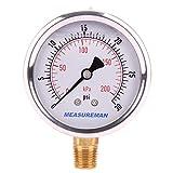 Measureman 2-1/2' Dial Size, Oil Filled Pressure Gauge, 0-30psi/kpa, 304 Stainless Steel Case, 1/4'NPT Lower Mount