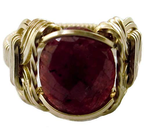 Natural Ruby 6 carat 14k Gold Filled Mens Ladies Unisex Ring Size 5-13 Jewelry July