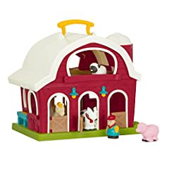 A childhood classic! Battat's big Red barn is a beautifully crafted toy farm that lets little ones use their imagination while playing. Look who's hiding inside! This barn toy set comes with 1 friendly horse, 1 cow, 1 sheep, 1 pig and 1 Farmer to mak...