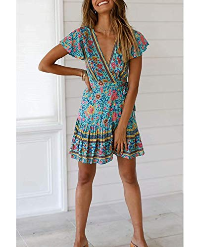 Abravo Mujer Vestido?Bohemio Corto Florales Nacional Verano Vestido Casual Magas Cortas Chic de Noche Playa Vacaciones,Azul,M