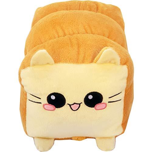 moodrush® Toast Cat/Brot-Katze Plüsch Kissen | Kuscheltier | alle Elemente aufgestickt (Nicht Bedruckt!) | waschbar | Weißbrot Kitty | ca. 37x27 cm