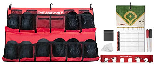 PowerNet On Deck Team Bundle | Includes Hanging Helmet Bag Bat Fence Rack Lineup Pro Board | Great for Baseball and Softball Coaches and Teams | Portable and Lightweight for Traveling (Red)