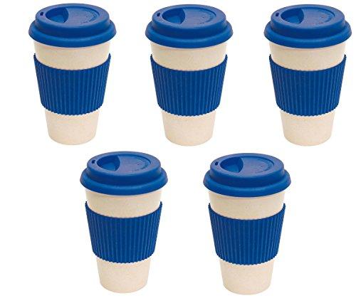 Lot de 5 tasses à café réutilisables Bleu Ø 9 x 14,4 cm 400 ml 100 % biodégradables