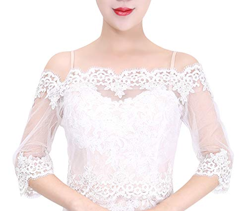 Wishprom Off Shoulder Lace Jacket Bolero Wedding Jacket (S / (0-4))