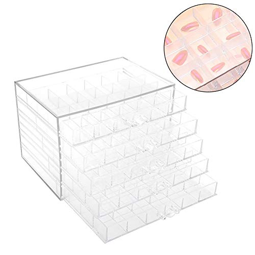 Nail Decoration Storage Box,120 Grids Sequence Organize Box Transparent Empty Nail Tips Organizer Holder Container Nail Display Jewelry Case