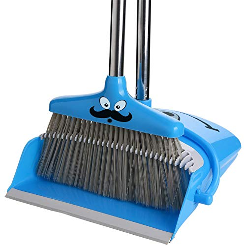New Upgraded Version Broom and Dustpan Set | Self Cleaning Bristles Broom and Dust Pan Combo, Dustpan and Broom with Long Handle for Kitchen Home Room Office Lobby Floor Sweep Upright Stand up