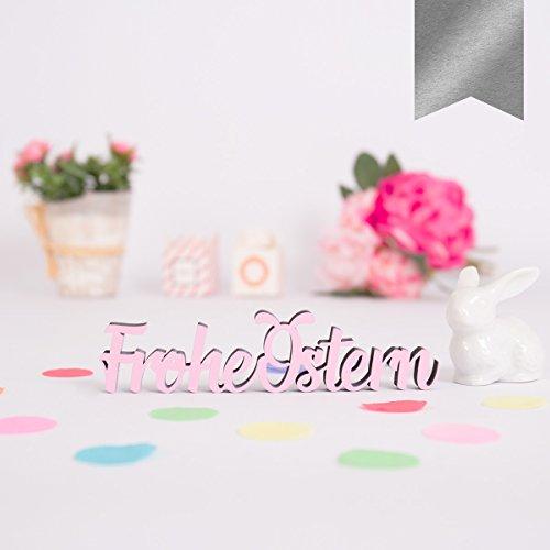 KLEINLAUT 3D-Schriftzug Frohe Ostern in Größe: 10 x 2,4 cm - Dekobuchstaben - 32 Farben zur Wahl - Silber