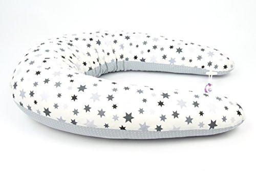 XXL Baby Stillkissen, Seitenschläferkissen, 210 cm, Lagerungskissen, 100 % Baumwolle, bei 40 °C waschbarer Bezug mit Reißverschluss (verschiedene Motive wie Sterne, Blumen oder Punkte) (Stars)