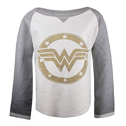 DC Comics Wonderwoman Gold Logo Sudadera, Gris (Grey/Ecru SPO), 42 (Talla del Fabricante:L) para Mujer