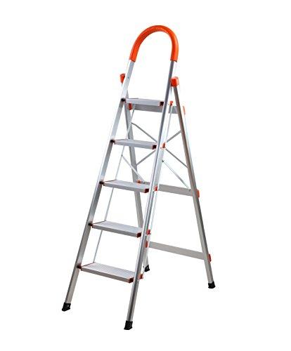 SHAREWIN Aluminum Step Ladder Lightweight Multi Purpose Portable Folding Home Ladder (5 Steps, Orange)