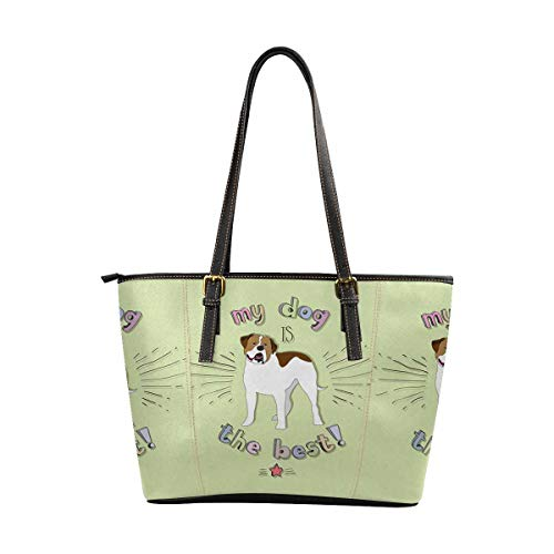Women's Leather Handbags Shoulder Tote, My Dog is the Best, Top Handles Bag Purse for School Travel