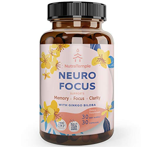 Brain Supplement Nootropics - Neuro Focus for Brain Health, Memory, Clarity, Focus Factor, Stress Relief, Anxiety Relief with Gingko Biloba, Bacopa Monnieri, St. Johns Wort - 30 Brain Food Capsules