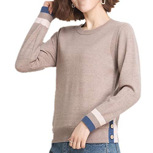 N\P Damen Pullover Low Neck Pullover mit Plüsch und Overcoat Gr. L, camel
