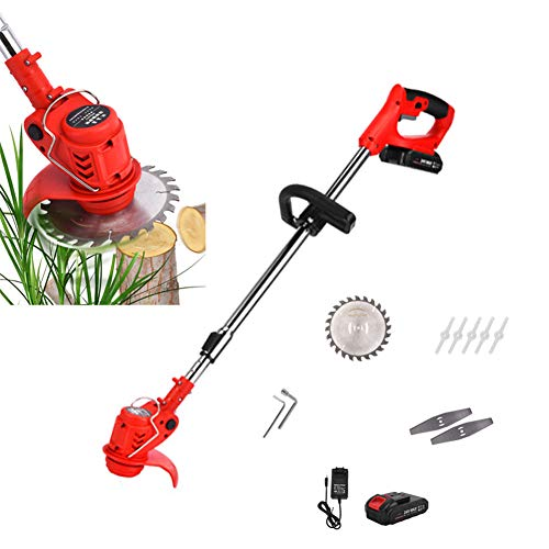 Best Buy! Double east String Trimmers with 24V Lithium-Ion & Charger,Telescopic Grass Trimmer,800W H...