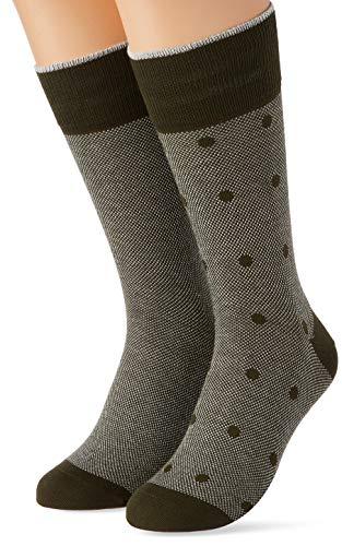 ESPRIT Herren Piqué Dot 2-Pack M SO Socken, Grün (Thyme 7821), 43-46 (2er Pack)