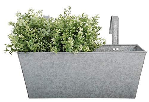 Esschert Design Balkonkasten, Blumenkasten mit Haken in grau aus verzinktem Metall, 7,5 Liter, ca. 40 cm x 25 cm x 24 cm