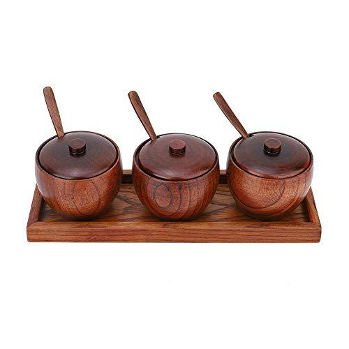 3 stuks retro kruidenpotje keuken kruidenrek houten zout en peper kruidenpot suikerpot met deksels opslagcontainers