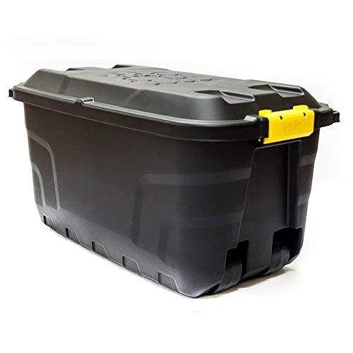 Strata Heavy Duty 75 Litre Storage Container Box with Wheels, Black, 77x 42x 40 cm