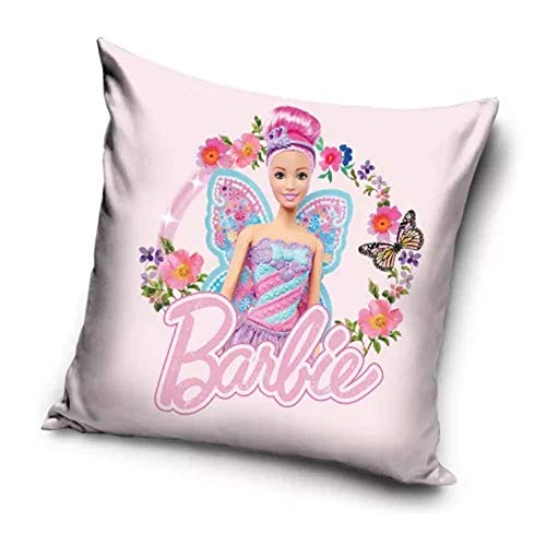 Le fantasie di casa Federa Copri Cuscino Barbie Farfalla 40 x 40 in Poliestere con Stampa Originale Mattel.