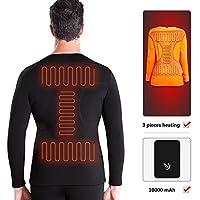 JIAYUAN マッサージクッション 男女3熱加熱下着トップ屋内と屋外、オートバイに適した冬の加熱されたベースレイヤー服の設定、10000mAhバッテリーとスキー (Color : Underwear With battery, Size : Men-XXXL)