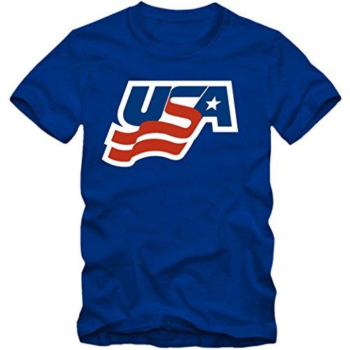 USA Ice Hockey T-Shirt Eishockey WM USA Hockey Shirt, Farbe:blau (Royalblau);Größe:3XL