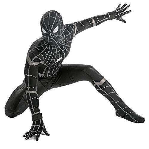 QWEASZER Spider-Man: Homecoming, Traje negro de Spiderman Adulto Hombres Mujeres Zentai Ropa Halloween Lycra Medias elásticas Escenario de vestuario para disfraces,Black Spiderman-M