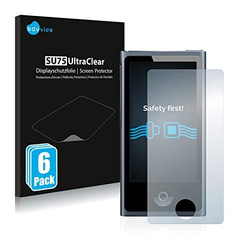 Savvies 6X Schutzfolie kompatibel mit Apple iPod Nano 2012 (7. Generation) Displayschutz-Folie Ultra-transparent