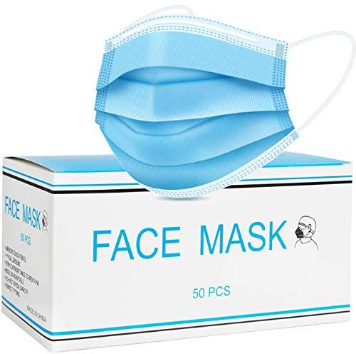 50 mascarillas desechables con orejeras elásticas, 3 capas, transpirables para hombres, mujeres y adultos.