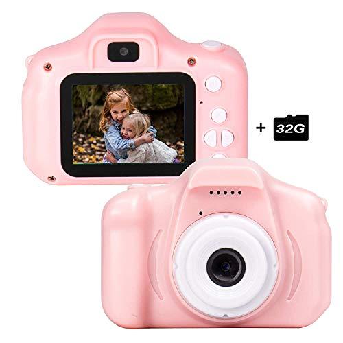 CAMORO Macchina Fotografica per Bambini con 32GB Carta TF Inclusa,Fotocamera Videocamera Digitale Portatile Obiettivo Doppio con Funzione Selfie,2.4 Pollici LCD,4 Giochi,HD 8 MP/1080P(R-2)
