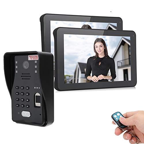 Timbre Inalámbrico con Cámara 1080P, videoportero WLAN con monitor TFT-LCD de 2x 9 pulgadas, con función de visión nocturna, conexión de múltiples dispositivos (US Plug)