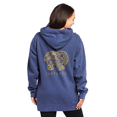 Ivory Ella Astro Paisley Oversized Hooded Sweatshirt