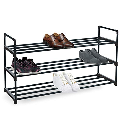 Knight 3 Tier Heavy Duty Metal Shoe Rack, Quick Assembly No Tools Required (Black)
