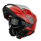 G-Mac Glide Evo - Casco da moto con apertura frontale, colore: rosso, bianco (L)