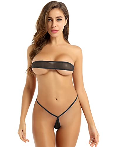iiniim Micro Bikini Mujer Sexy Mini Bikini Tangas G-string Braga Alta Cintura Bikinis Brasileños Dos Piezas Traje de Baño Conjunto de Lencería Erótica Pijama Negro A Talla Única