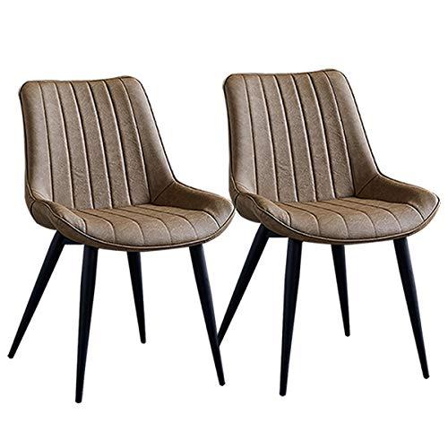 2 stuks luxe stoelen eetkamer keuken kunstleer stoelverdikking retrostoelen eetkamer met leuning metalen poten voor restaurant hotel stoelen badkamer vergaderingen Black legs Kameel.
