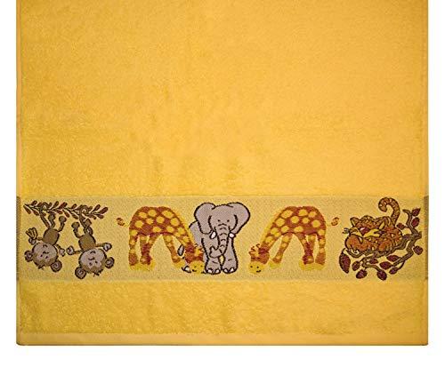 Kinderhandtuch Ökotex100 50 x 100 cm Baumwolle Gelb Tiere