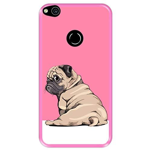 Funda Rosa para [ Huawei P8 Lite 2017 - P9 Lite 2017 - Nova Lite ] diseño [ Cachorros Beige Pug posando 3 ] Carcasa Silicona Flexible TPU