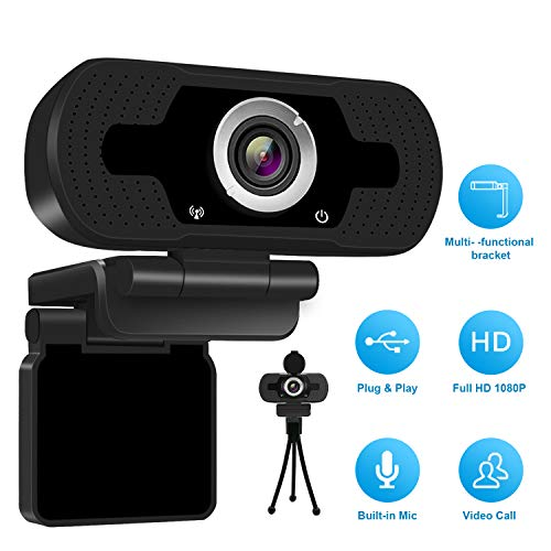 1080P Full HD Webcam mit Webcam Cover,Computer Laptop Kamera für Konferenz und Video Call,Pro Stream Webcam mit Plug and Play Video Calling,Built-in Mic