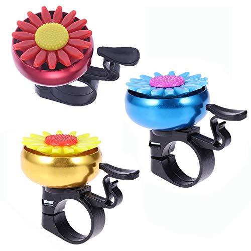 Etern 3PCS Radfahren Klingel Ring, Sunflower Shaped Kinder Fahrrad Radfahren Glocke, Fahrradklingel in Aluminiumfarbe, Für Kinderfahrradlenker (Blau, Gelb, Rot)