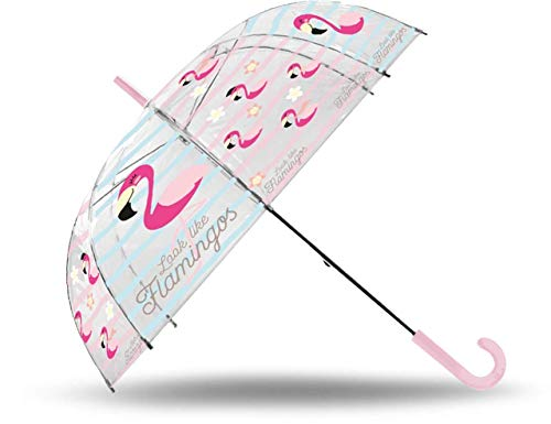 Kids paraplu, transparant, automatisch, 50 cm, glasvezel, flamingo-paraplu, klassiek, 80 cm, meerkleurig