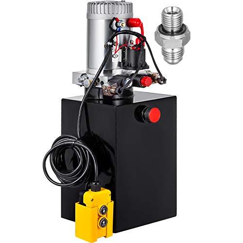 Mophorn Hydraulic Pump Double Acting Hydraulic Power Unit 12V DC Dump Trailer Pump 3200PSI Hydraulic Power Unit for Dump Trailer Car Lifting (12 Quart, Steel/Double Acting)