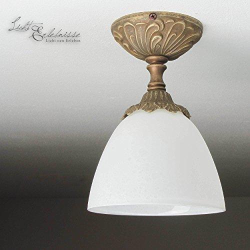 Messing Deckenlampe Glas Schirm Weiß Bronze antik Jugendstil Handarbeit E14 Deckenleuchte...